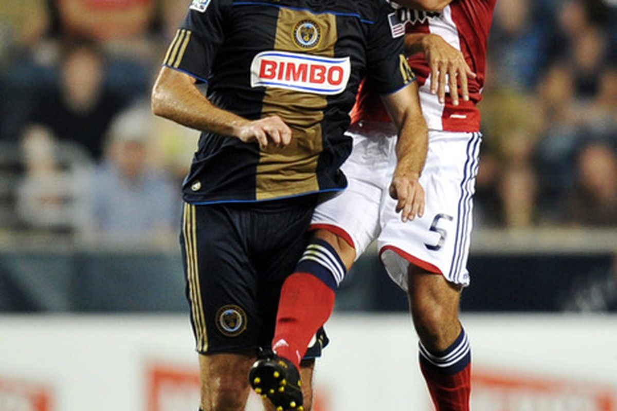 CHESTER, PA- JUNE 25: Veljko Paunovic #16 of the Philadelphia Union and Paulo Nagamura #5 of Chivas USA head the ball at PPL Park on June 25, 2011 in Chester, Pennsylvania. The Union won 3-2. (Photo by Drew Hallowell/Getty Images)