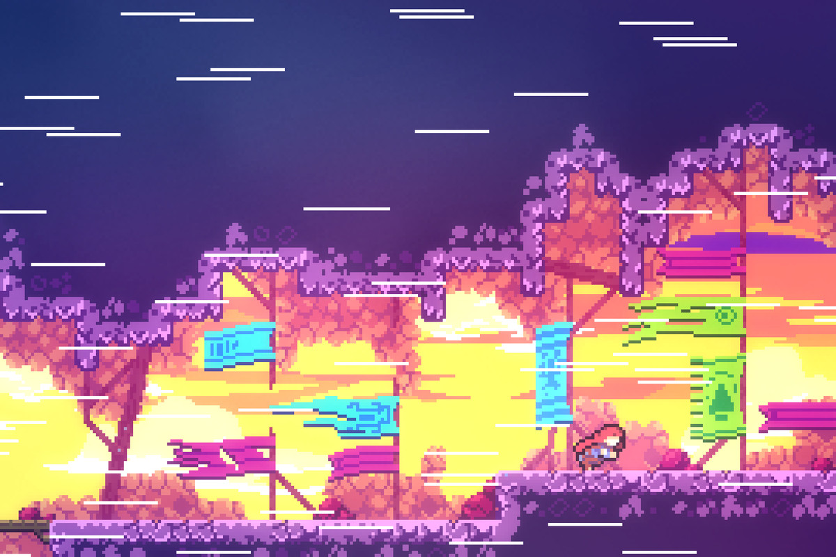 Protagonist Madeline braves harsh winds in a screenshot from Celeste