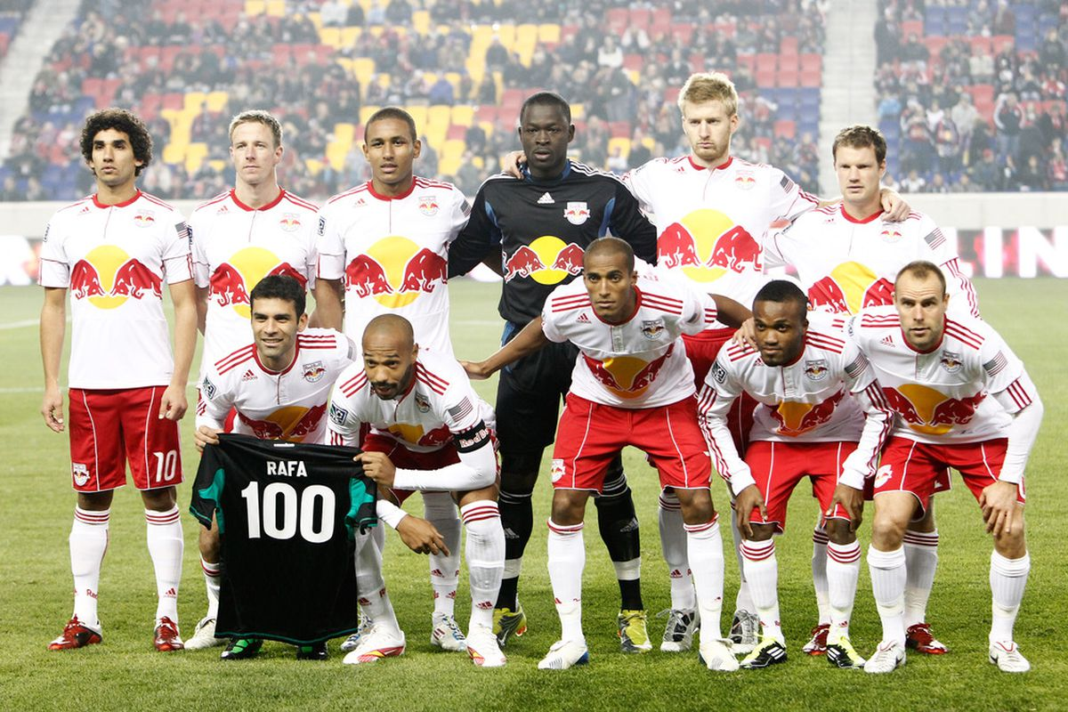 HARRISON, NJ - APRIL 02:  The New York Red Bulls pose for a team photo before playing the Houston Dynamo at Red Bull Arena on April 2, 2011 in Harrison, New Jersey.  (Photo by Jeff Zelevansky/Getty Images)