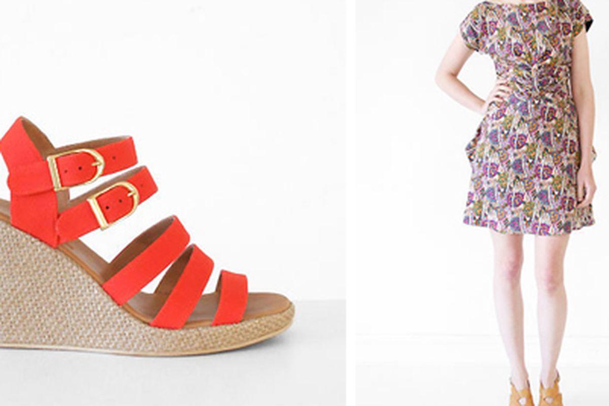 "<a href=""http://shop.creaturesofcomfort.us/apc-orange-espadrille-sandals.aspx"">APC sandals</a> and <a href=""http://shop.creaturesofcomfort.us/rachel-comey-wayfarer-dress-paisley.aspx"">Rachel Comey dress</a> via Creatures of Comfort"