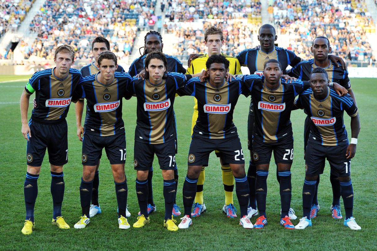CHESTER, PA - AUGUST 12: The Philadelphia Union starters pose for a photograph before the match against the Chicago Fire at PPL Park on August 12, 2012 in Chester, Pennsylvania. The Fire won 2-1. (Photo by Drew Hallowell/Getty Images)