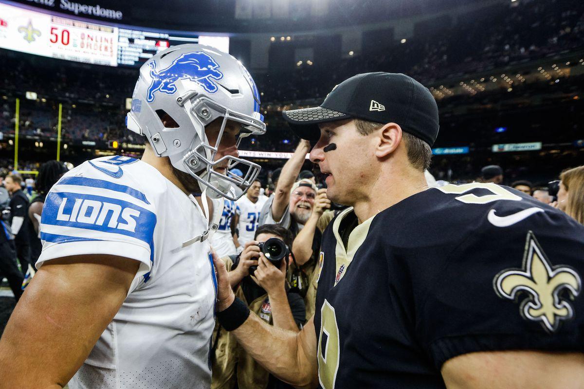 Detroit Lions quarterback Matthew Stafford talks with New Orleans Saints quarterback Drew Brees following a game at the Mercedes-Benz Superdome.