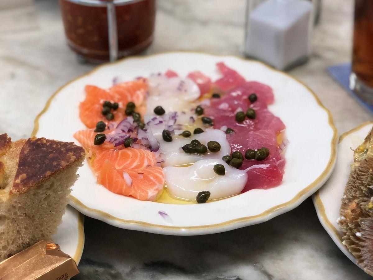 Italian sashimi at Swan OysterDepot