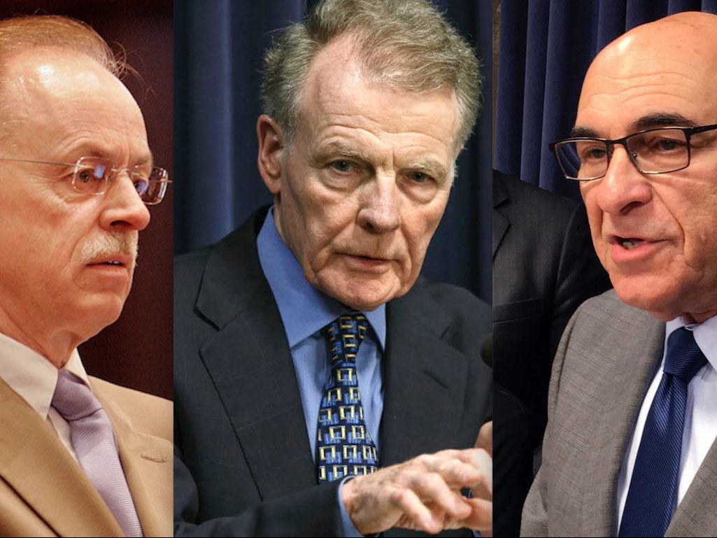 House Speaker Michael Madigan's Chief of Staff Tim Mapes, left, in 2007.   AP File Photo/Seth Perlman; House Speaker Mike Madigan, center, in 2017.   File Photo by Justin Fowler /The State Journal-Register via AP; state Rep. Lou Lang, D-Skokie, right, in