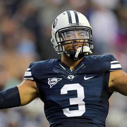 Brigham Young Cougars linebacker Kyle Van Noy encourages the crowd as BYU and Texas play Saturday, Sept. 7, 2013, at LaVell Edwards Stadium.
