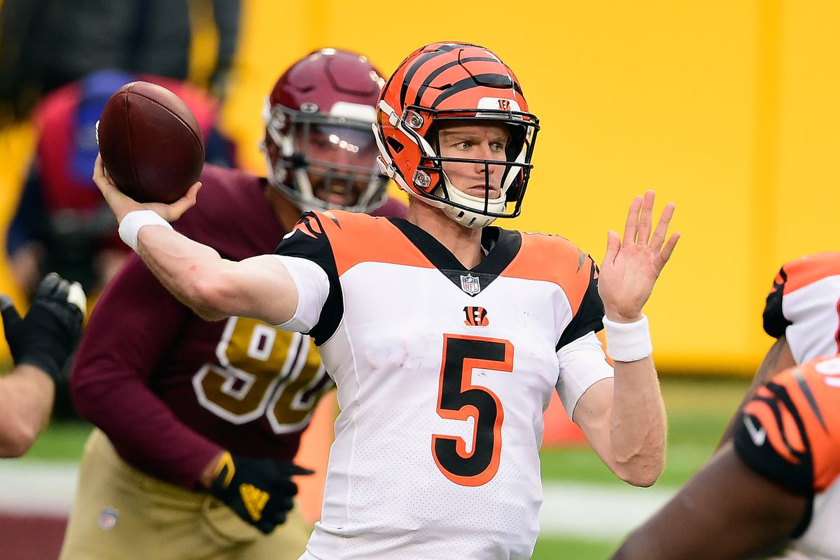 Ryan Finley #5 of the Cincinnati Bengals passes the ball during the second half against the Washington Football Team at FedExField on November 22, 2020 in Landover, Maryland. The Washington Football Team defeated the Bengals 20-9.