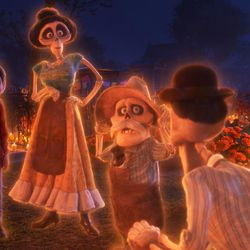 """FAMILY REUNION – In Disney•Pixar's """"Coco,"""" aspiring musician Miguel (voice of Anthony Gonzalez) makes an impulsive choice that sets off a series of events that ultimately lands him in the Land of the Dead where he's able to interact with his late family members, including TÍa Rosita (voice of Selene Luna), TÍa Victoria, PapÁ Julio (voice of Alfonso Arau), and TÍo Oscar and TÍo Felipe (both voiced by Herbert Siguenza). Disney•Pixar's """"Coco"""" opens in U.S. theaters on Nov. 22, 2017. ©2017 Disney•Pixar. All Rights Reserved."""