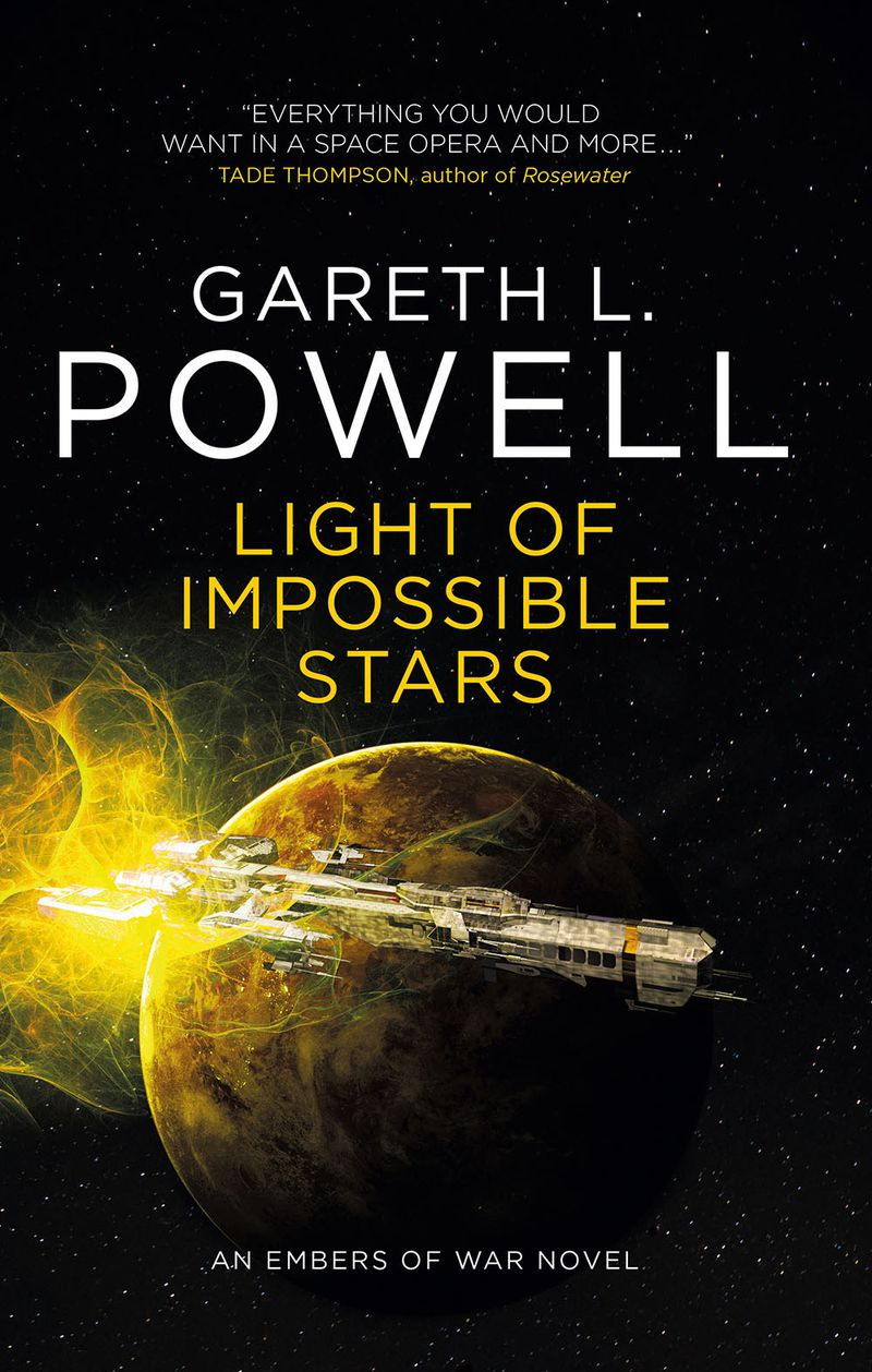 a ship zooms past a planet on the cover of Light of Impossible Stars by Gareth L. Powell