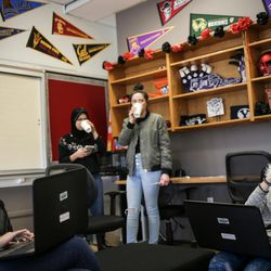 Daniela Rodriguez, 12, left, and Maya Devries, 12, right, and other students hang out and study in the Our CASA space at West High School in Salt Lake City on Friday, Feb. 24, 2017. Our CASA spaces are part of an initiative is to increase access to higher education for first-generation students and their families on Salt Lake City's west side. The two are part of the Extended Learning Program that allows middle schoolers to take high school courses.