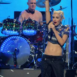 Gwen Stefani and drummer Adrian Young of No Doubt perform at the iHeart Radio Music Festival on Friday, Sept., 21, 2012 at the MGM Grand Arena in Las Vegas.