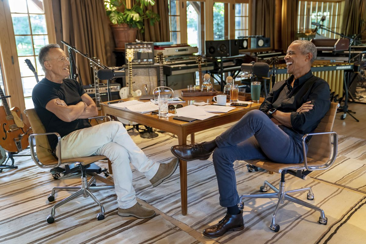 Bruce Springsteen appears with former President Barack Obama during their podcast of conversations recorded at Springsteen's home studio in New Jersey. The eight-episode series covers their upbringings, racism, fatherhood and even recall a White House singalong around a piano.