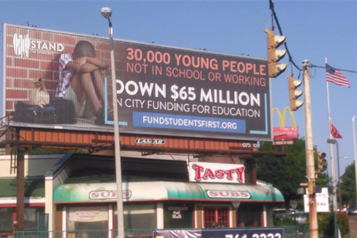 A 2017 billboard campaign, paid for by Stand for Children, highlights an ongoing frustration among city, county and school leaders over education funding.