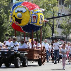 Riverton North Stake float in the Days of '47 Youth Parade in Salt Lake City on Saturday, July 20, 2013.
