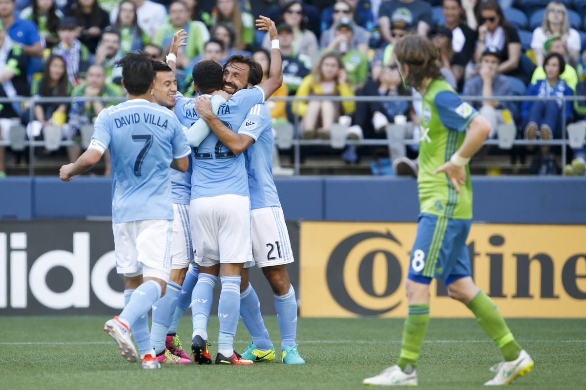 Seattle can only look on as NYCFC celebrates.