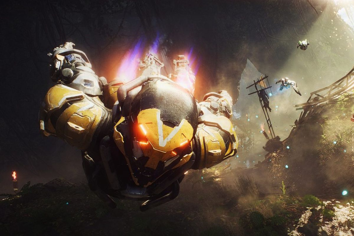 A Javelin in Anthem flying toward the camera
