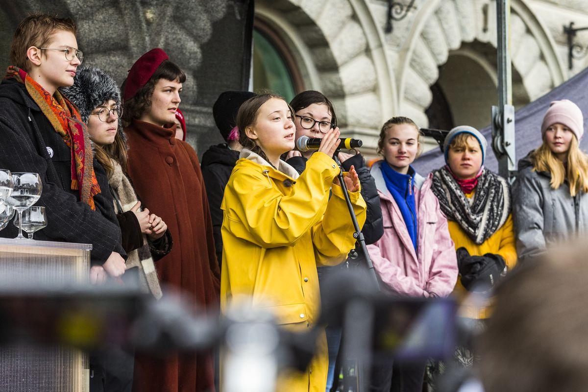 Greta Thunberg, 16, speaks a strike outside of the Swedish parliament house, Riksdagen, in Stockholm, Sweden, on March 15.