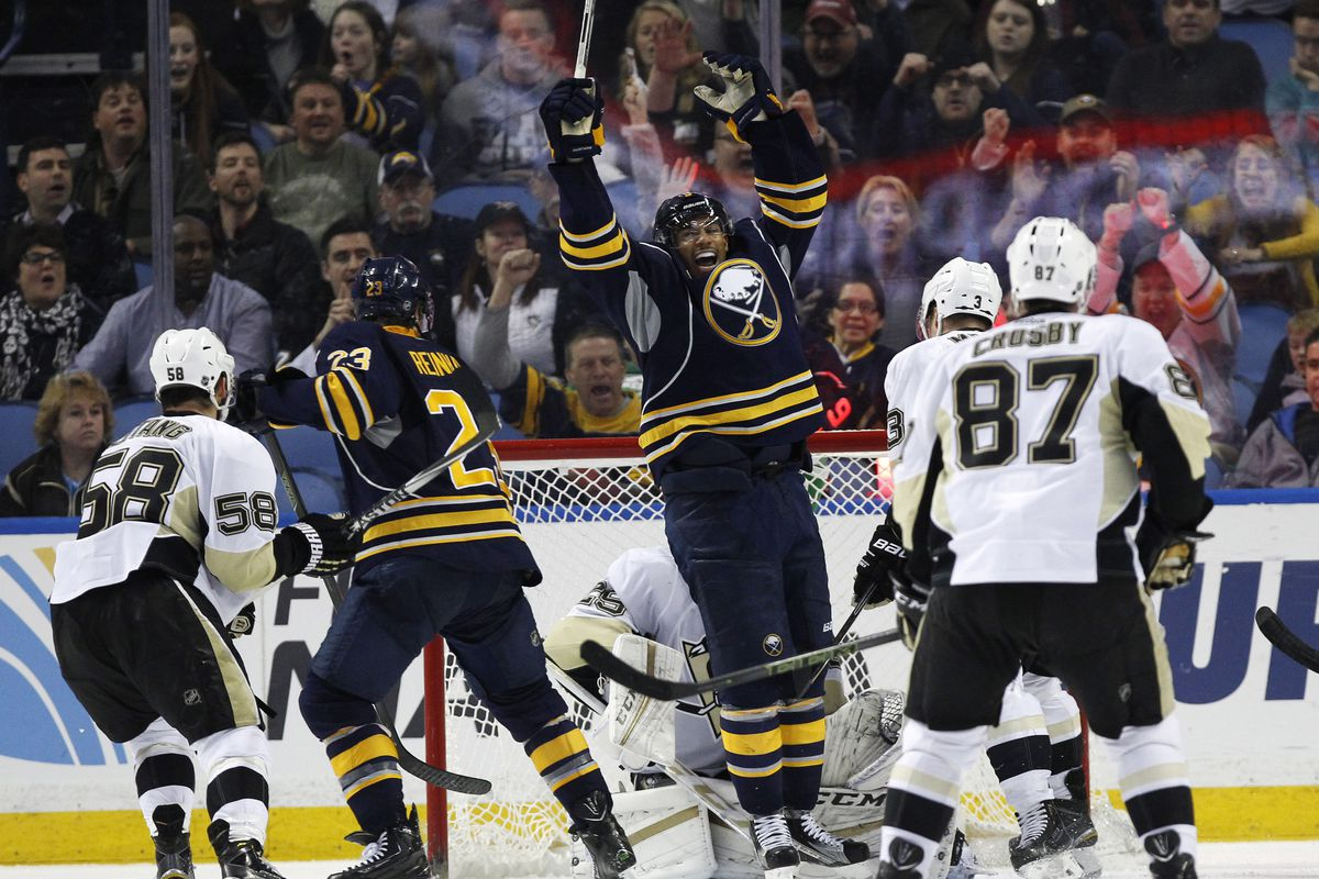Sabres in happier times against the Pens