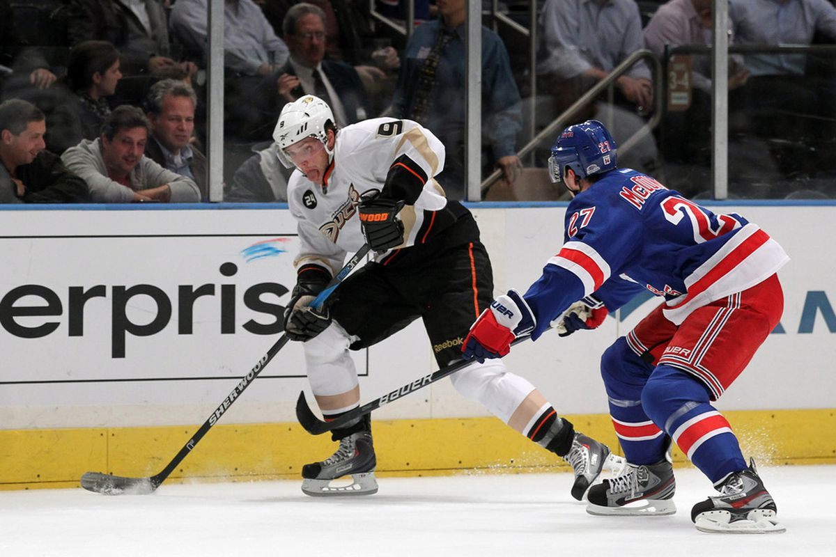 NEW YORK, NY - NOVEMBER 03:  Bobby Ryan #9 of the Anaheim Ducks handles the puck as Ryan McDonagh #27 of the New York Rangers defends on November 3, 2011 at Madison Square Garden in New York City.  (Photo by Al Bello/Getty Images)