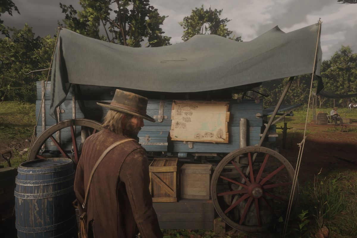 Red Dead Redemption 2 - the fast travel map in camp