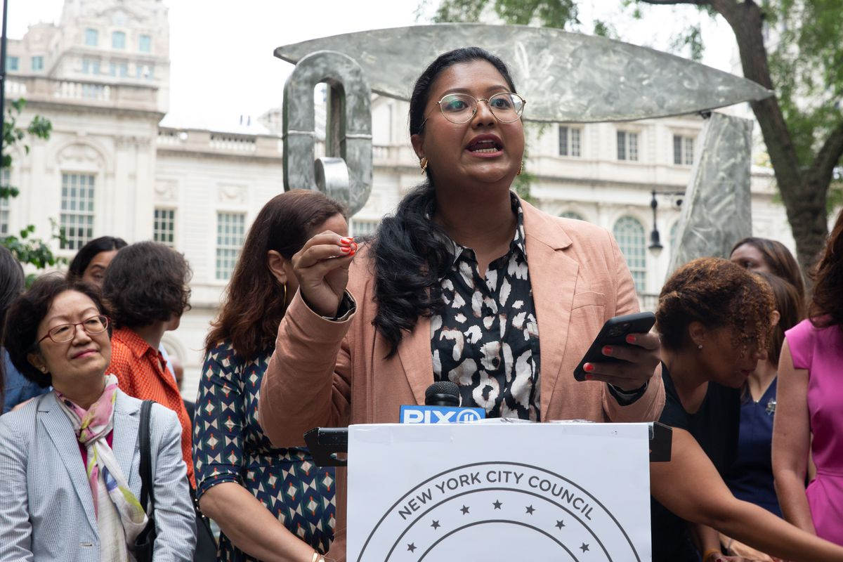 Brooklyn City Council Candidate Shahana Hanif speaks at a rally in City Hall Park supporting female candidates, July 13, 2021.