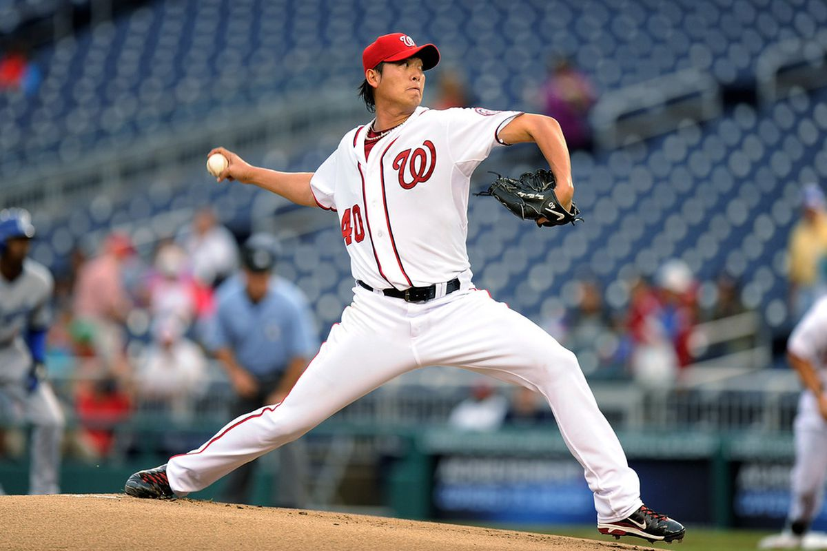 WASHINGTON, DC - SEPTEMBER 08:  Chien-Ming Wang #40 of the Washington Nationals pitches against the Los Angeles Dodgers at Nationals Park on September 8, 2011 in Washington, DC.  (Photo by Greg Fiume/Getty Images)