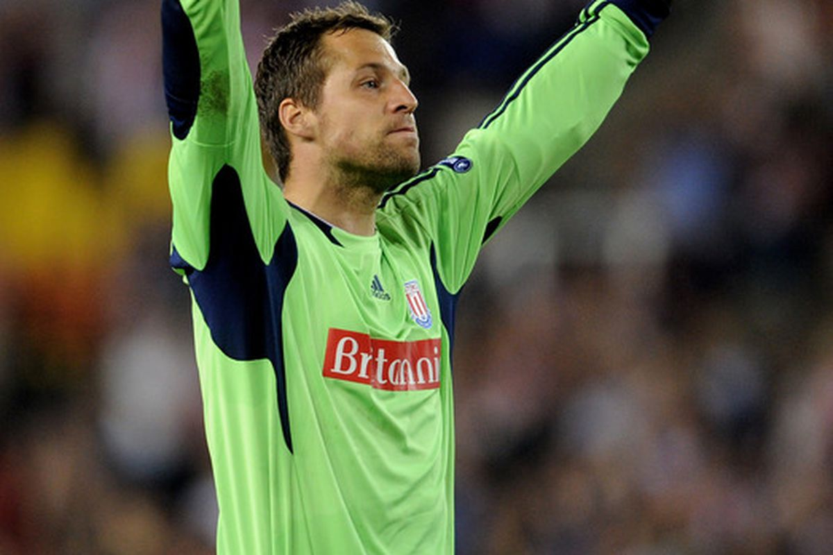 Thomas Sorensen's reaction upon being told he is the leading item on Injuries and Suspensions this week  (Photo by Michael Regan/Getty Images)