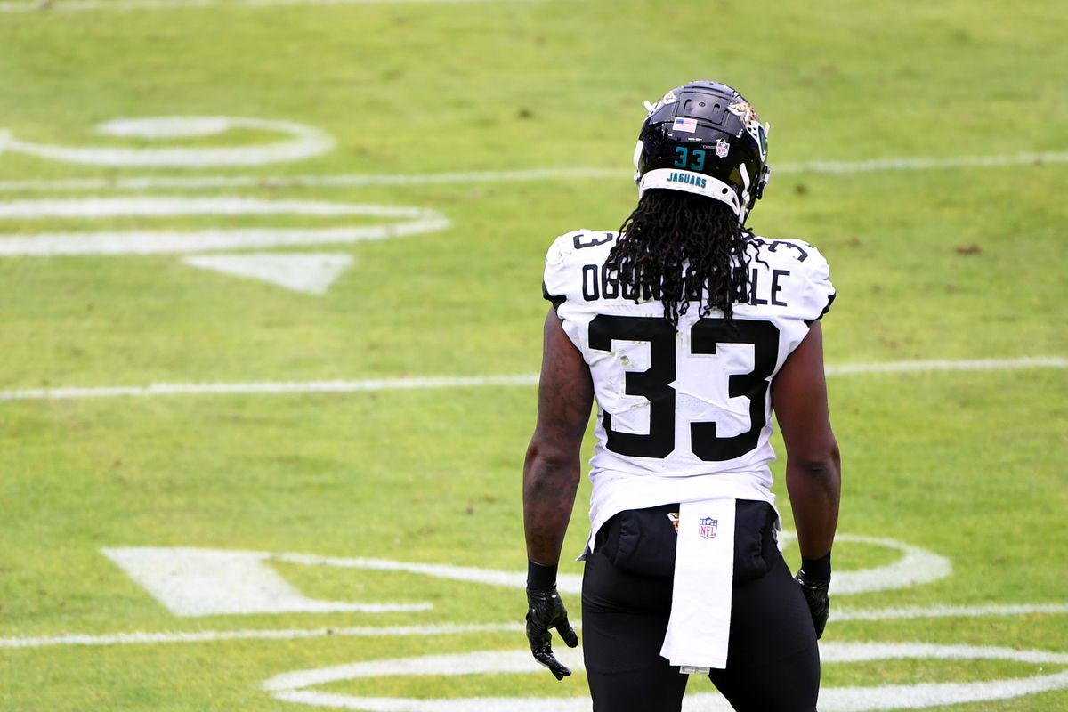 Running back Dare Ogunbowale #33 of the Jacksonville Jaguars looks on during the first half against the Baltimore Ravens at M&T Bank Stadium on December 20, 2020 in Baltimore, Maryland.