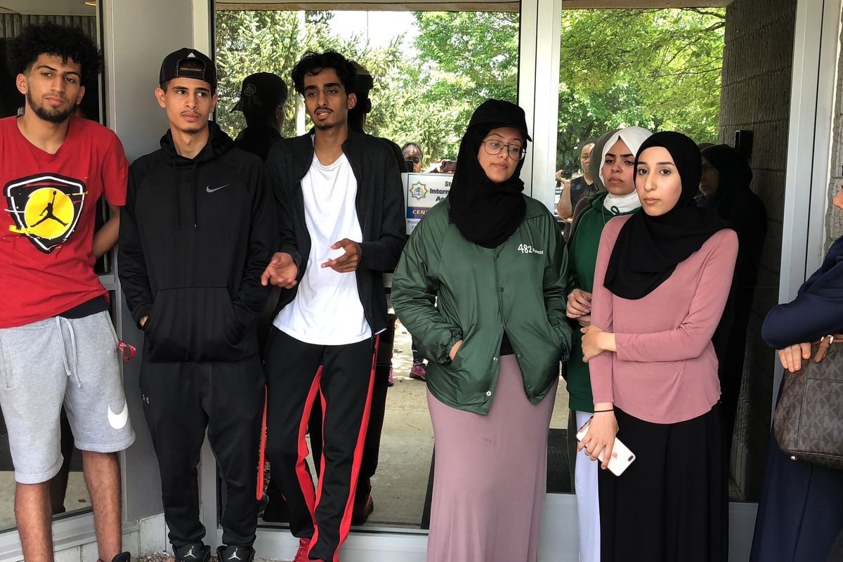 Students hoping to obtain their transcripts waited outside their Detroit charter school, Universal Academy, for more than an hour. Office workers inside would not unlock the door.