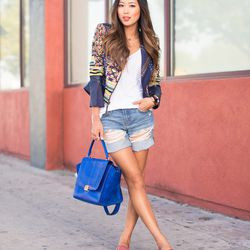 """Aimee of <a href=""""http://songofstyle.blogspot.com/"""">Song of Style</a> is wearing a BCBG jacket, a <a href=""""http://www.cheyannbenedict.com//custompages/cheyannbenedict/Bally-at-Cheyann-Benedict-PID11545-T137.aspx"""">Cheyann Benedict</a> T-shirt, <a href=""""ht"""