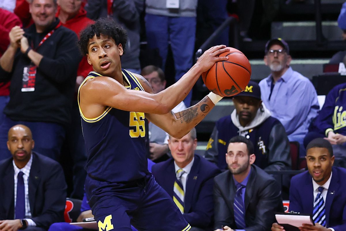Michigan Wolverines guard Eli Brooks during the college basketball game between the Rutgers Scarlet Knights and the Michigan Wolverines on February 19, 2020 at the Louis Brown Athletic Center in Piscataway, NJ.