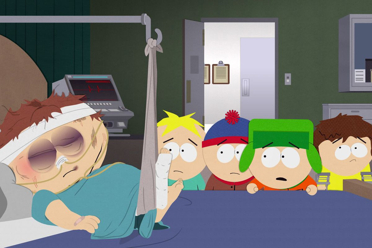 Cartman recovers from a savage beating in the season premiere of South Park.
