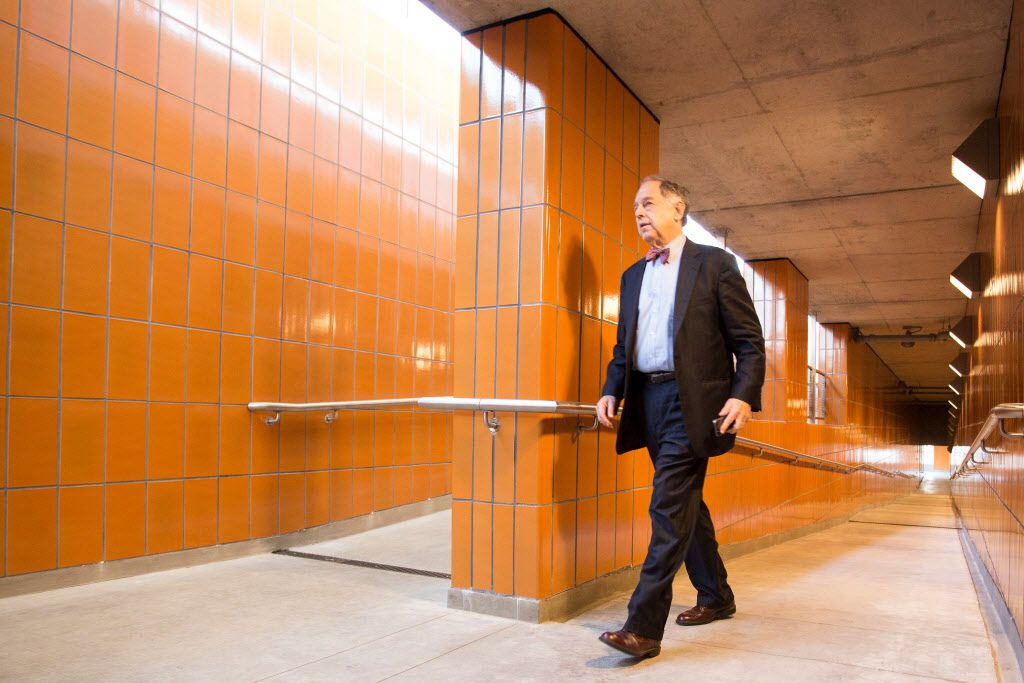 <small><strong>Martin Oberman, chairman of the Metra board, walks into the newly completed station at Ravenswood May 6, 2015. | James Foster for The Sun-Times</strong></small>