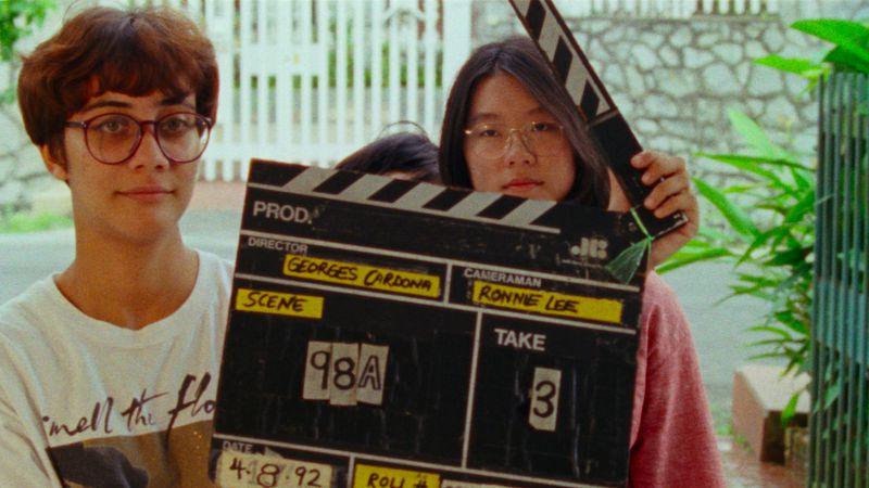 Sophia Siddique and Sandi Tan filming in 1992.