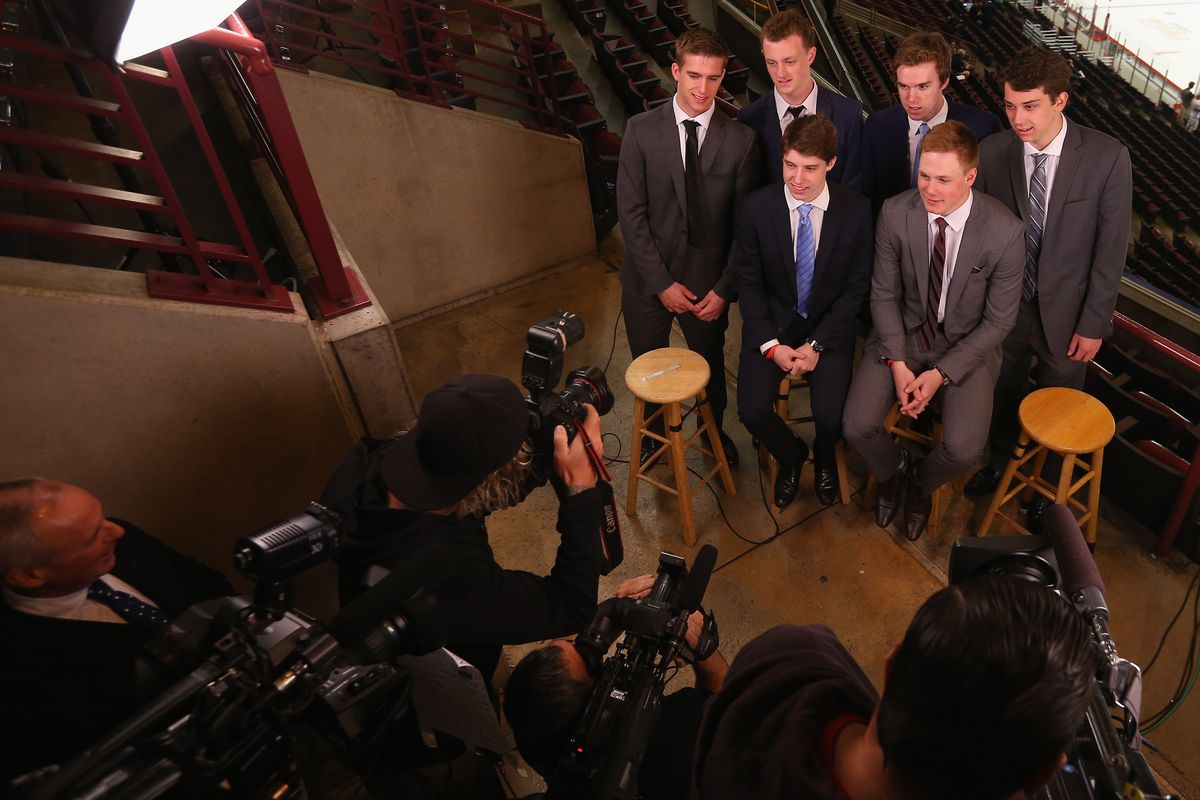 These prospects (McDavid, Eichel, Hanifin, Crouse, Marner, and Strome) and more will be on stage tonight.