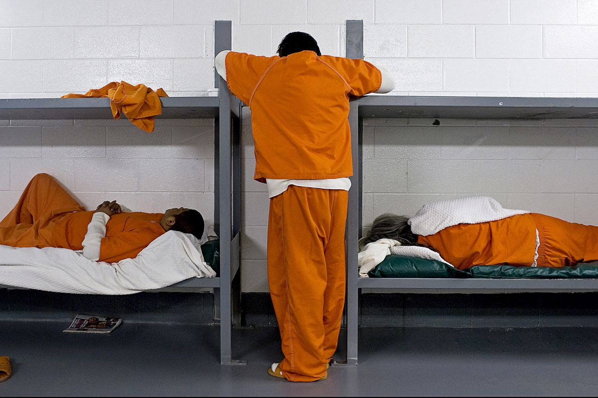 Prisoners in an overcrowded jail.