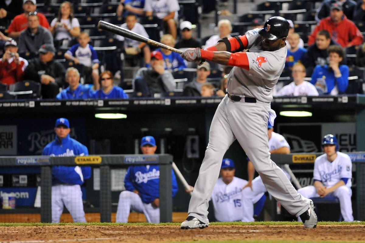May 07, 2012; Kansas City, MO, USA; Boston Red Sox designated hitter David Ortiz (34) at bat in the ninth inning of the game against the Kansas City Royals at Kauffman Stadium. The Red Sox won 11-5. Mandatory Credit: Denny Medley-US PRESSWIRE