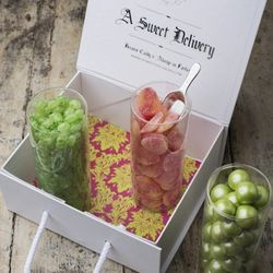 """The Lilly-Pulizter-inspired """"Pretty is Pretty Sweet,"""" $65, holds mojito-flavored jelly beans, shimmery gum balls, and gummi sour peaches."""