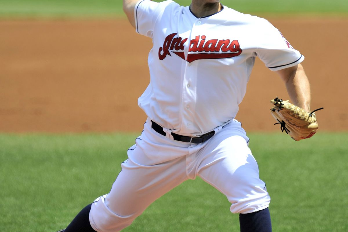Aug 8, 2012; Cleveland, OH, USA; Cleveland Indians starting pitcher Justin Masterson (63) delivers in the third inning against the Minnesota Twins at Progressive Field. Mandatory Credit: David Richard-US PRESSWIRE