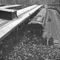 President Franklin D. Roosevelt came to Salt Lake in 1935 where thousands came to hear him speak at the Union Pacific Station while on a short stop.