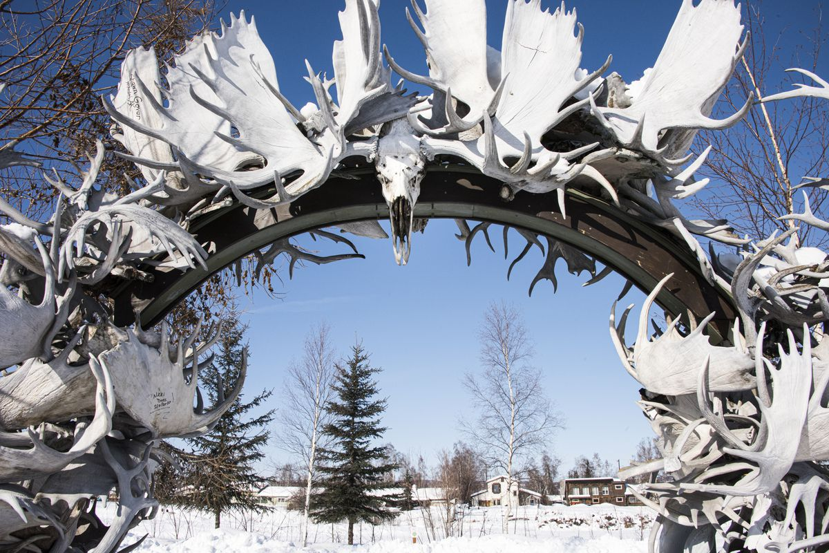 A moose-antler arch along the Chena River in downtown Fairbanks, on March 27, 2020.