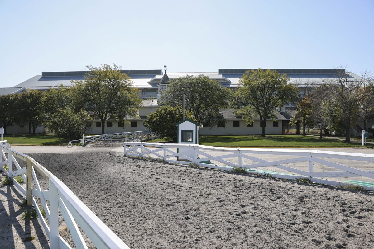 Arlington International Racecourse, pictured earlier this week, is in line to be purchased by the Chicago Bears.