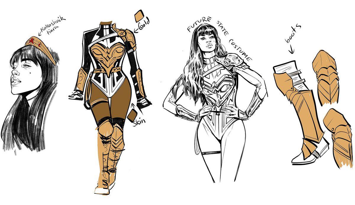 Concept art of Yara Flor's Future State costume, highlighting her Kokoshnik tiara, gold armor, and boots.