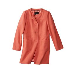 """<b>Mossimo</b> Collarless Coat in osage orange, <a href=""""http://www.target.com/p/mossimo-women-s-collarless-coat-assorted-colors/-/A-14115384#prodSlot=medium_1_22"""">$44.99</a> at Target"""