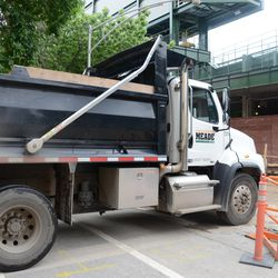 11:23 a.m. Dump truck entering through the work gate on Kenmore -