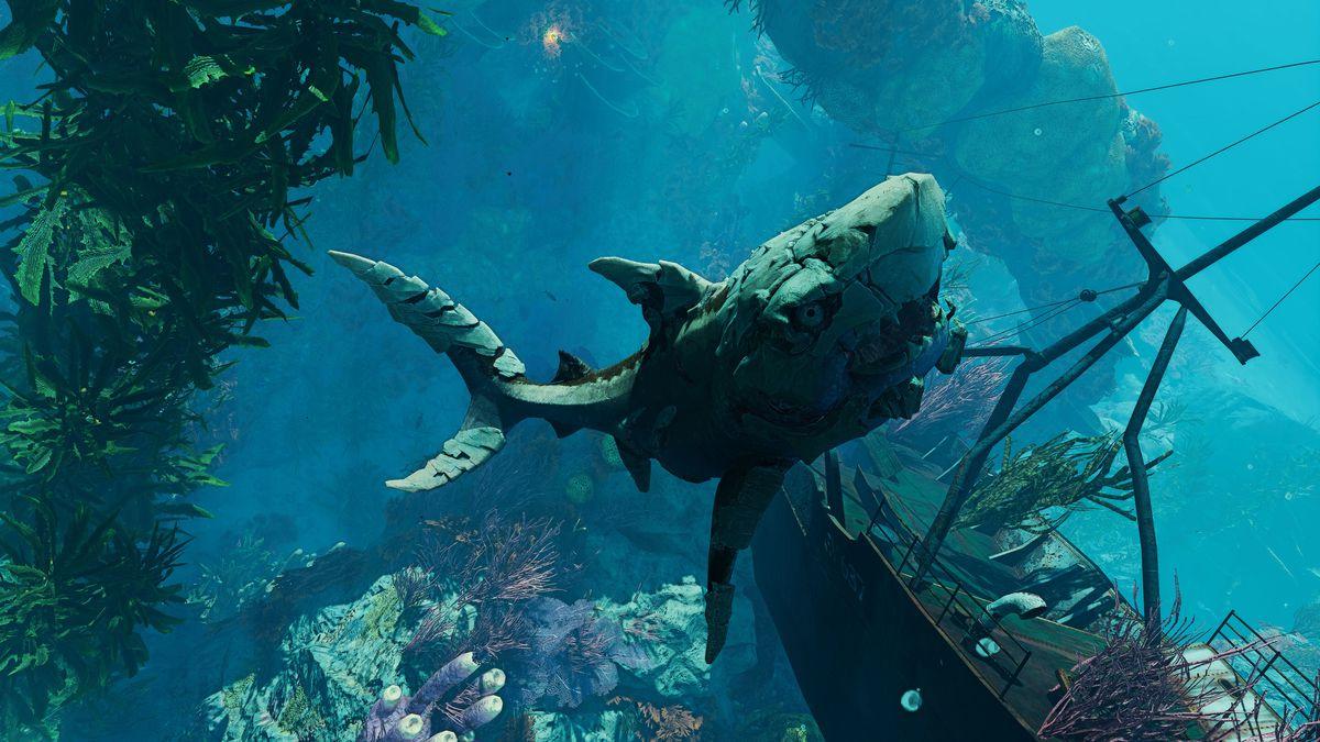 an armored shark swimming near a sunken ship in Maneater