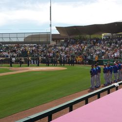 Cubs line up for the national anthem Sunday -
