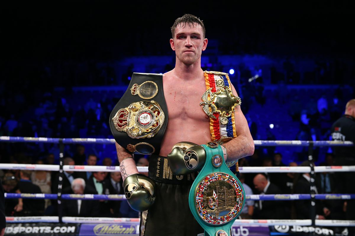 Callum Smith celebrates victory over John Ryder after their WBA World, WBC Diamond & Ring Magazine Super-Middleweight Title Fight at M&S Bank Arena on November 23, 2019 in Liverpool, England.