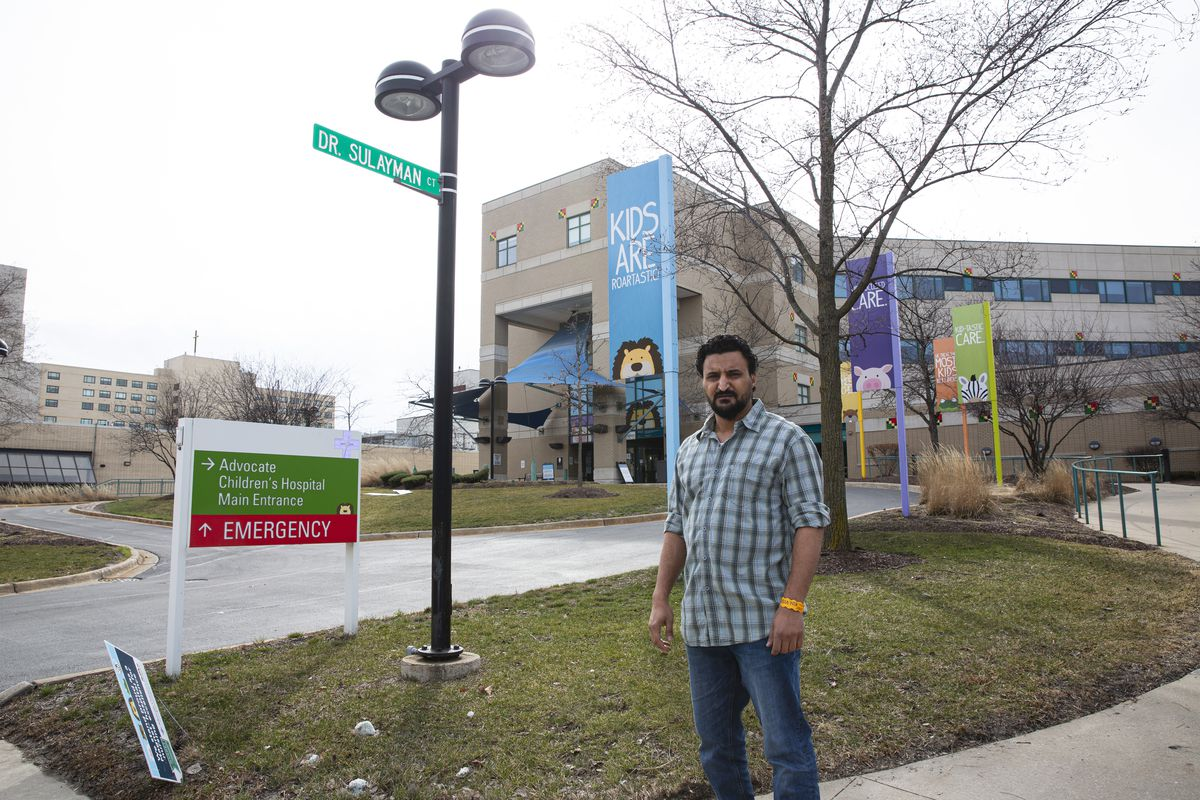 Mohsin Omer standing  outside of Advocate Children's Hospital at 4440 95th St. in Oak Lawn, Sunday, March 14, 2021.