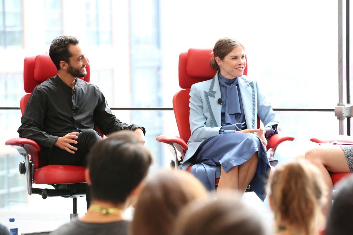 Sweetgreen co-CEO Jonathan Neman and Glossier CEO Emily Weiss onstage at Code Commerce, Thursday, Sept. 14, 2017.