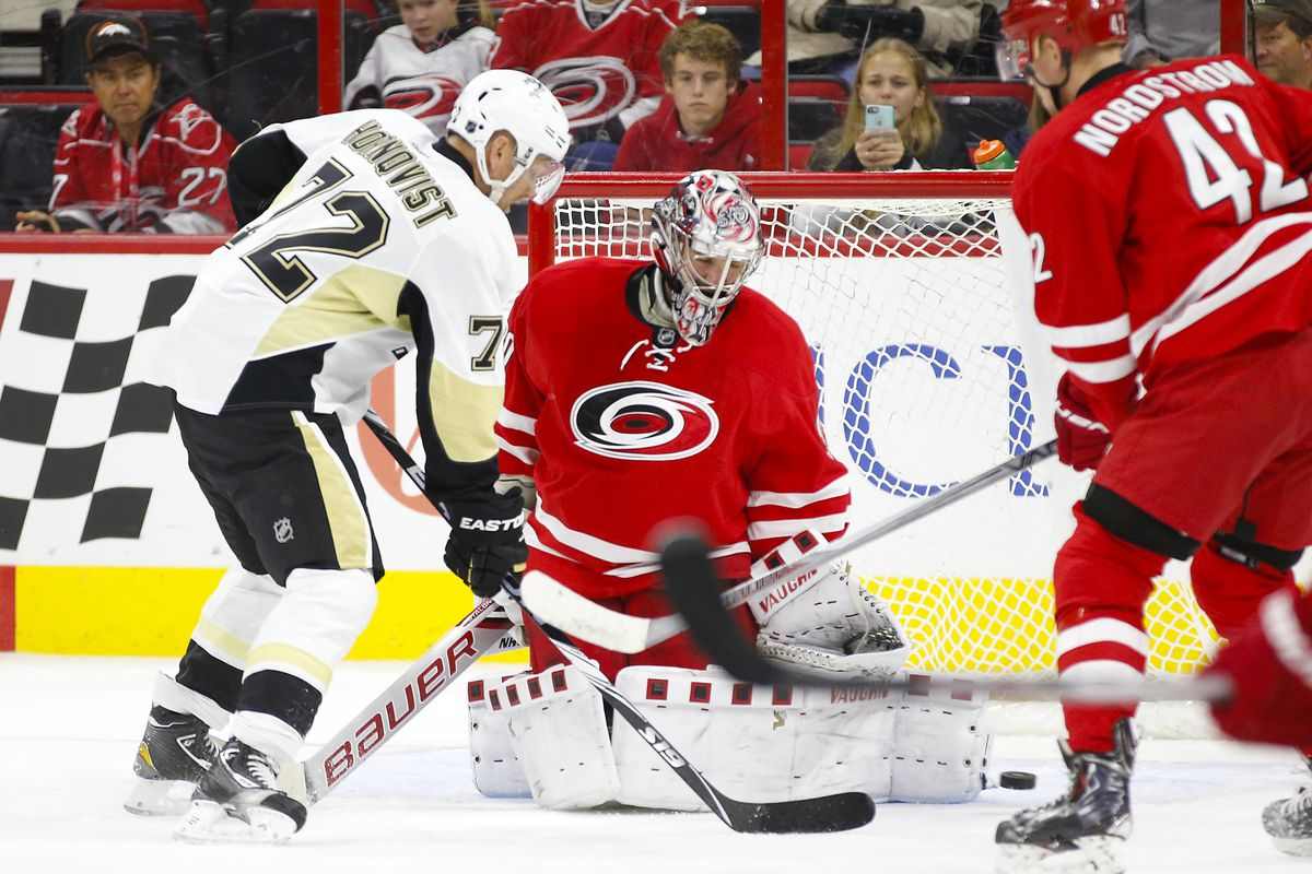 Cam Ward made 34 saves to lead Carolina over Pittsburgh on Friday night